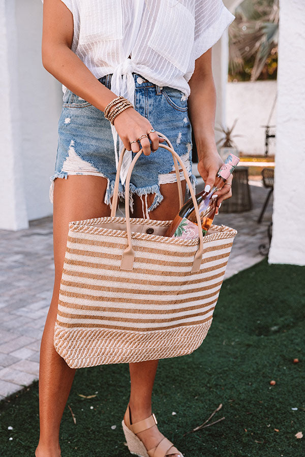 Arriving In Palm Beach Woven Tote