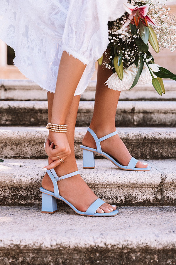 The Poppy Block Heel in Sky Blue