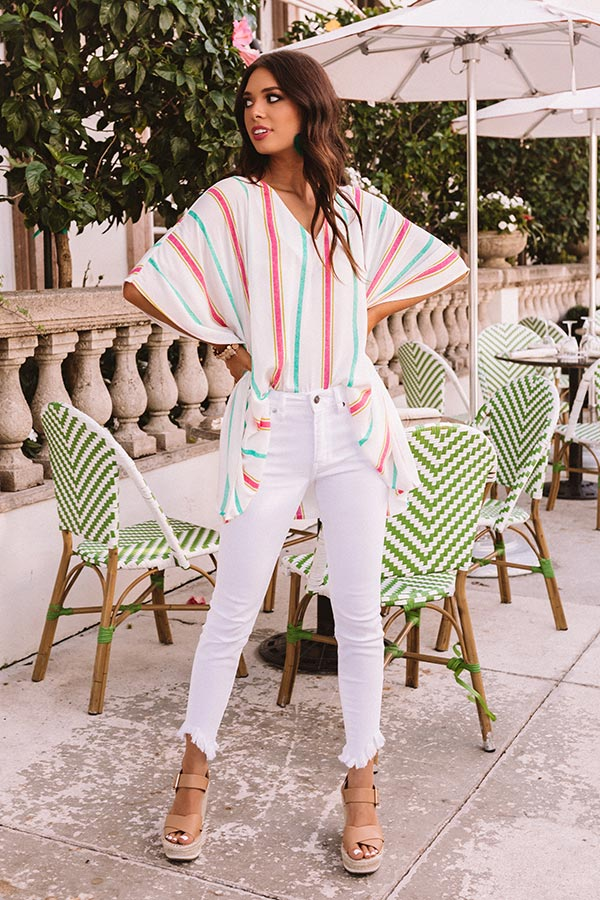 Bring On The Sunshine Stripe Shift Tunic in Ivory