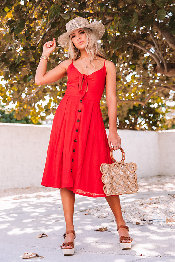 Get Outta Town Front Tie Midi in Red