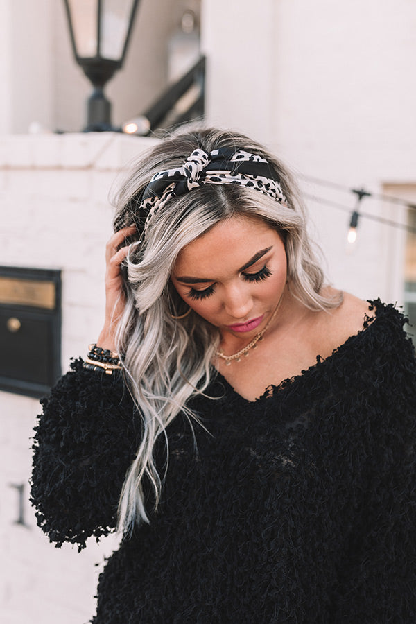 Seashell Chic Cheetah Print Hair Scarf In Champagne
