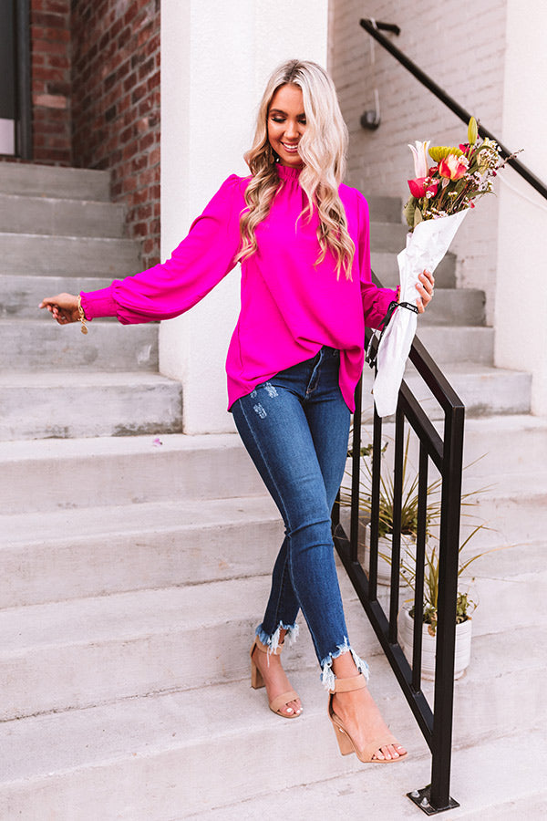 Socialite In The City Shift Top In Hot Pink