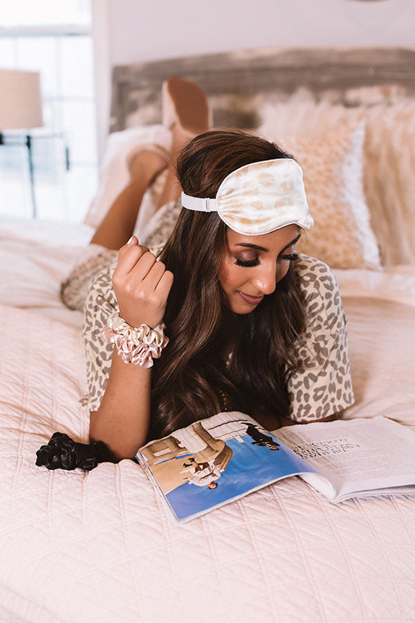 Satin Sleep Eye Mask in Leopard