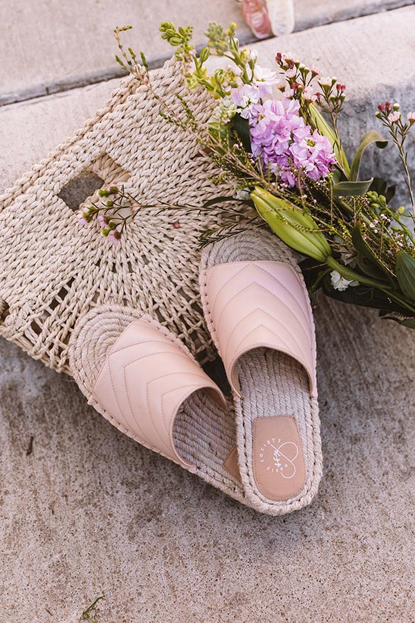 The Villa Faux Leather Sandal In Light Pink
