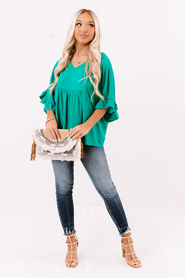 Flirty Fave Babydoll Top In Emerald