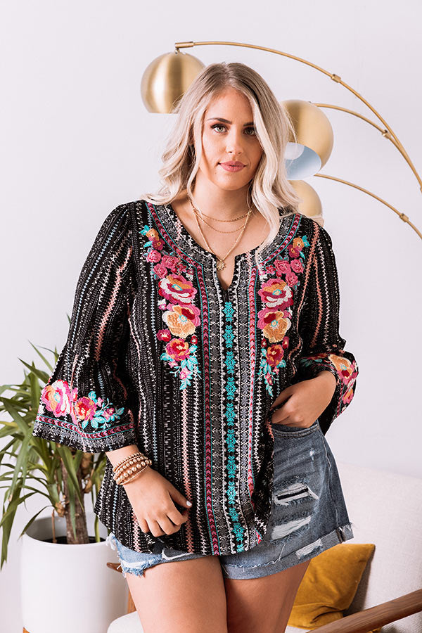 Easy To Admire Embroidered Top In Black
