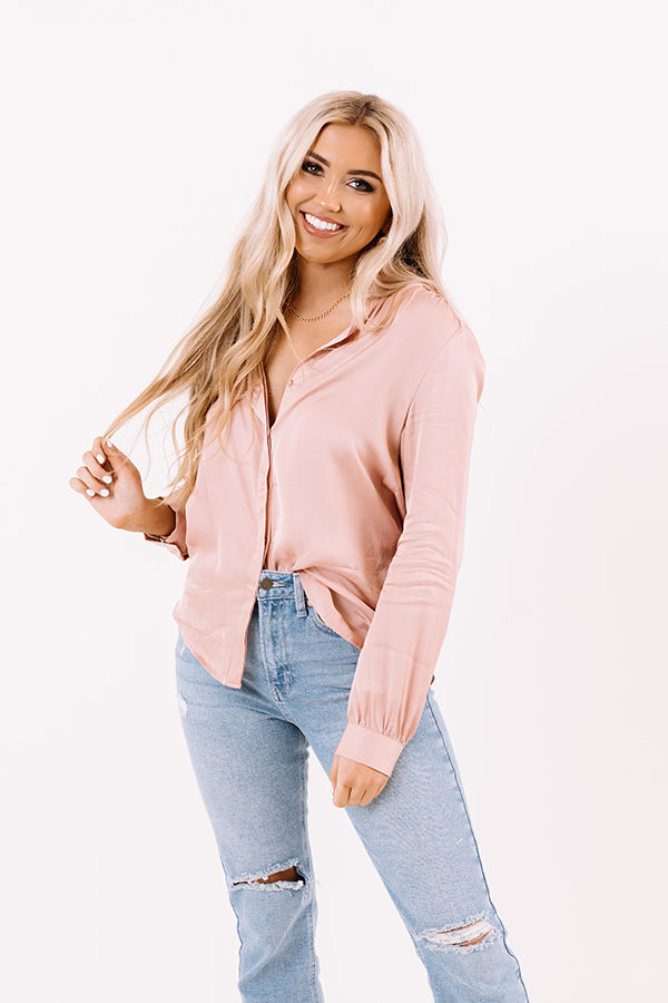 Highest Standards Satin Top In Blush