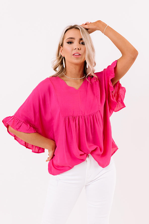 Flirty Fave Babydoll Top In Hot Pink