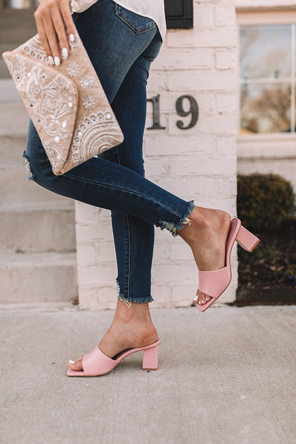 The Linette Faux Leather Block Heel In Pink