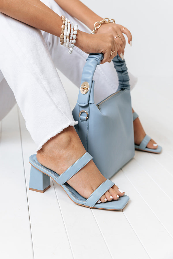 The Alva Faux Leather Block Heel In Sky Blue