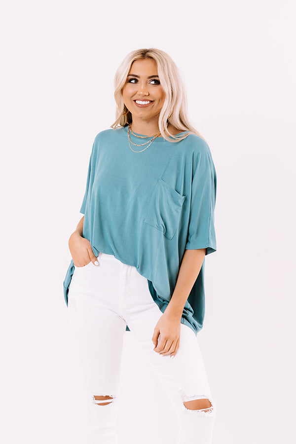 Fond Of Forever Shift Tee In Light Teal