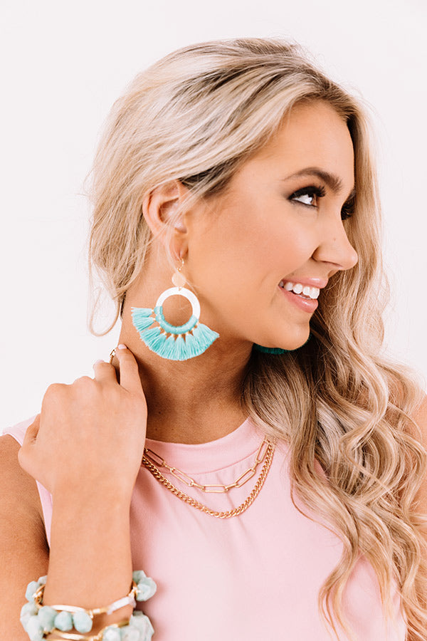 Hooked On A Feeling Earrings In Turquoise