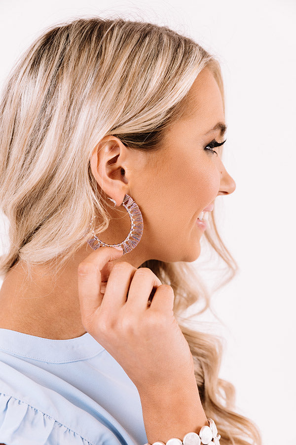 Evie Bright Silver Hoop Earrings in Purple
