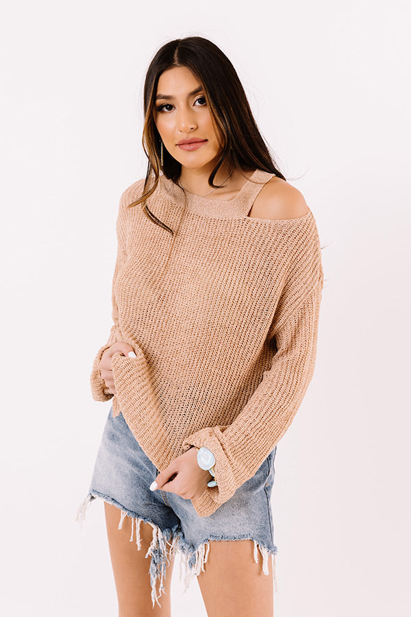 Simply Curated Knit Top In Light Mocha