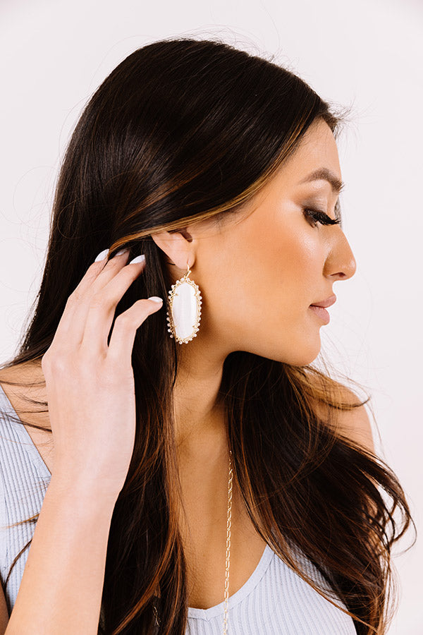 Beaded Danielle Gold Drop Earrings in White Mussel