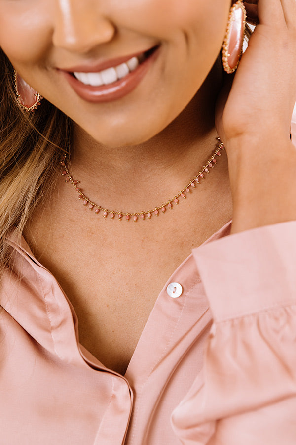 Jenna Gold Choker Necklace in Pink Rhodonite