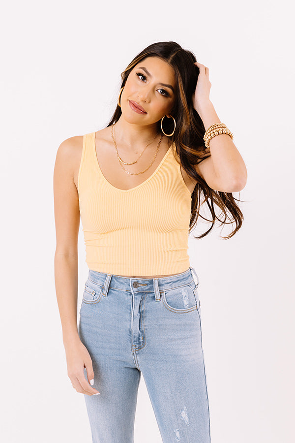 Lounging In Key Largo Ribbed Crop Top In Honey