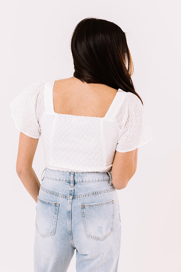 My Sunny Side Eyelet Crop Top In White