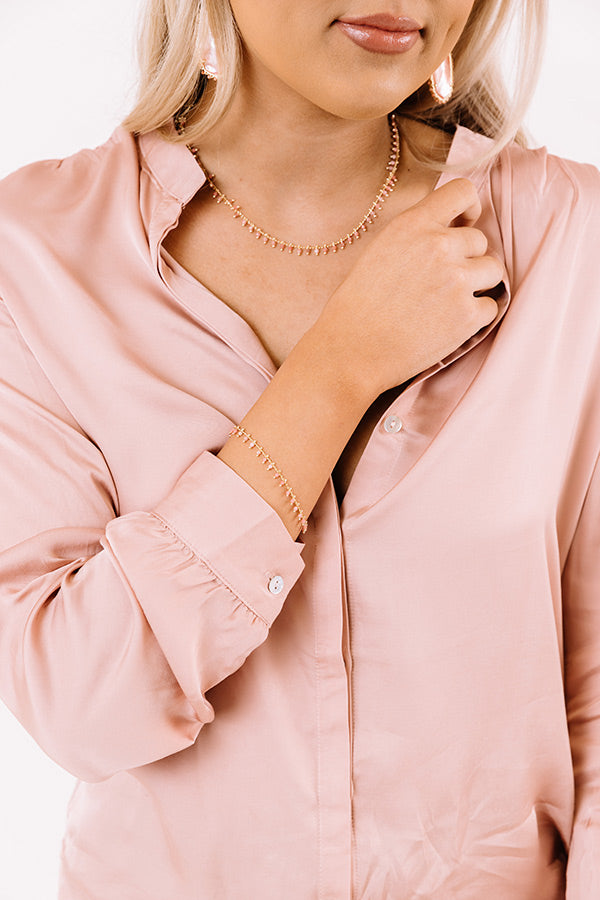 Jenna Gold Delicate Chain Bracelet in Pink