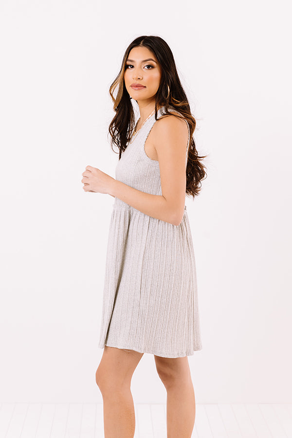 Summer Melody Babydoll Dress In Grey