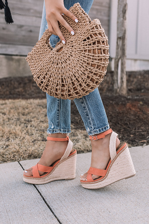 The Syra Espadrille Wedge In Peach