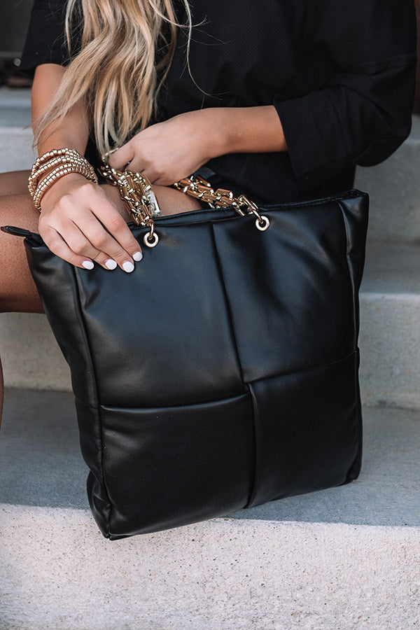 Date Night Faux Leather Tote In Black