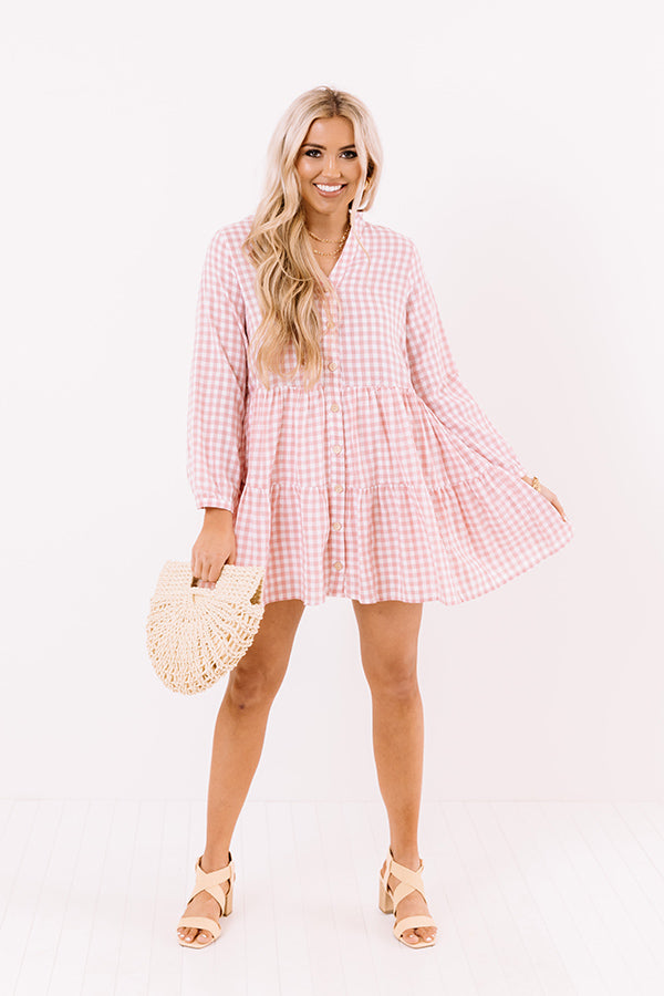 Yacht Stop Gingham Babydoll Dress In Pink