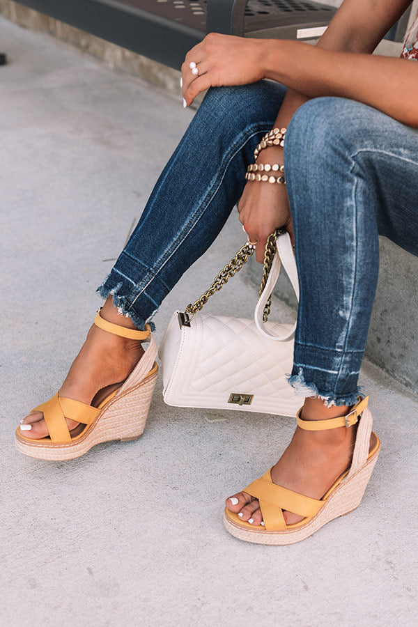 The Syra Espadrille Wedge In Honey