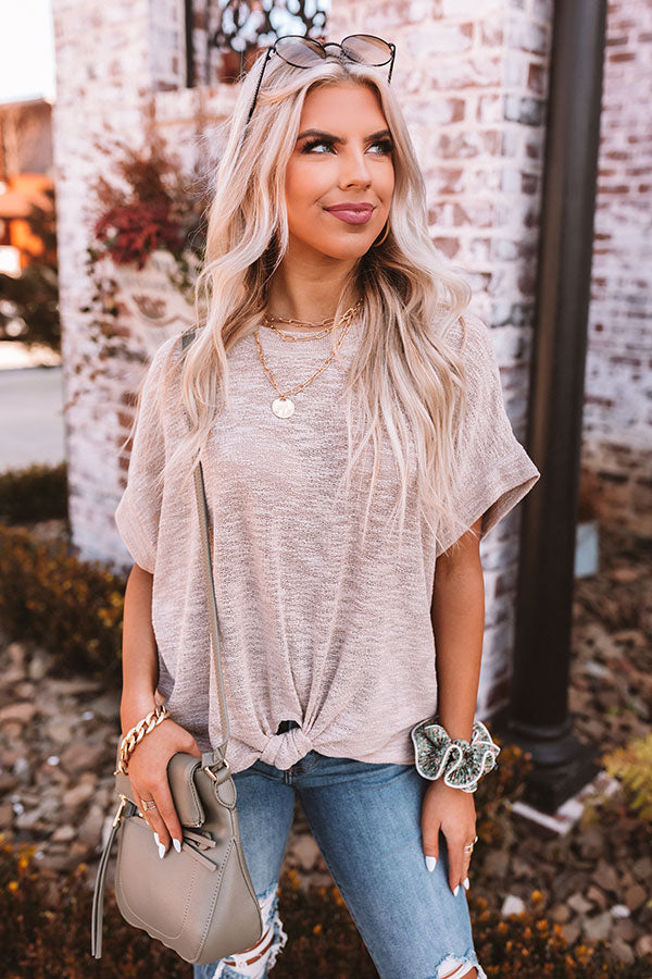 Across The Room Knit Top In Warm Taupe