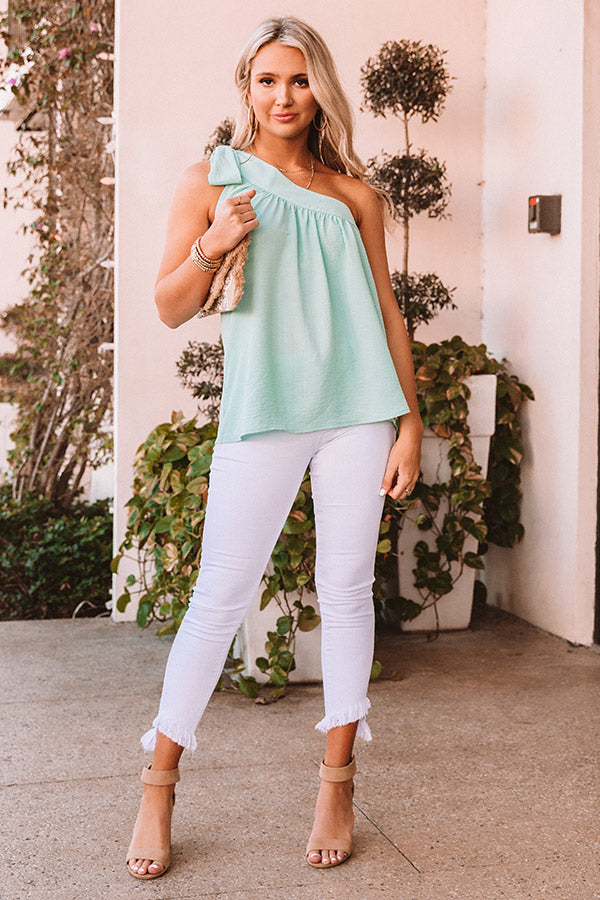 Flirty At Heart Shift Top In Mint