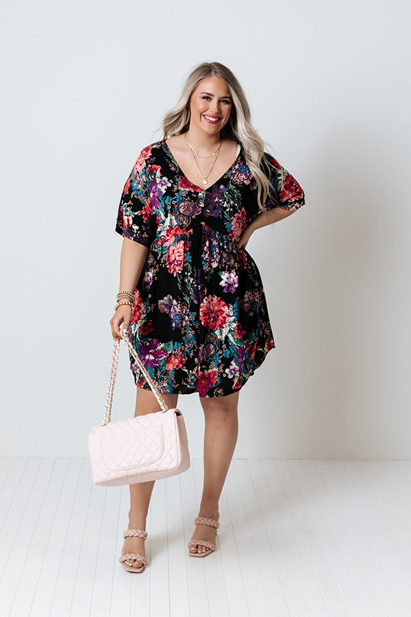 Strolling In Santorini Babydoll Dress In Black