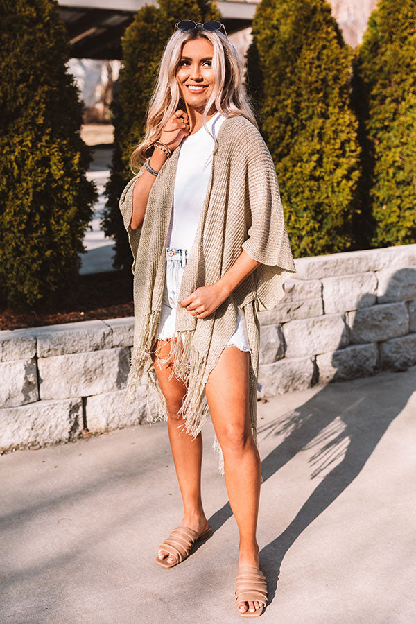 Beachy Sweet Knit Overlay In Light Sage
