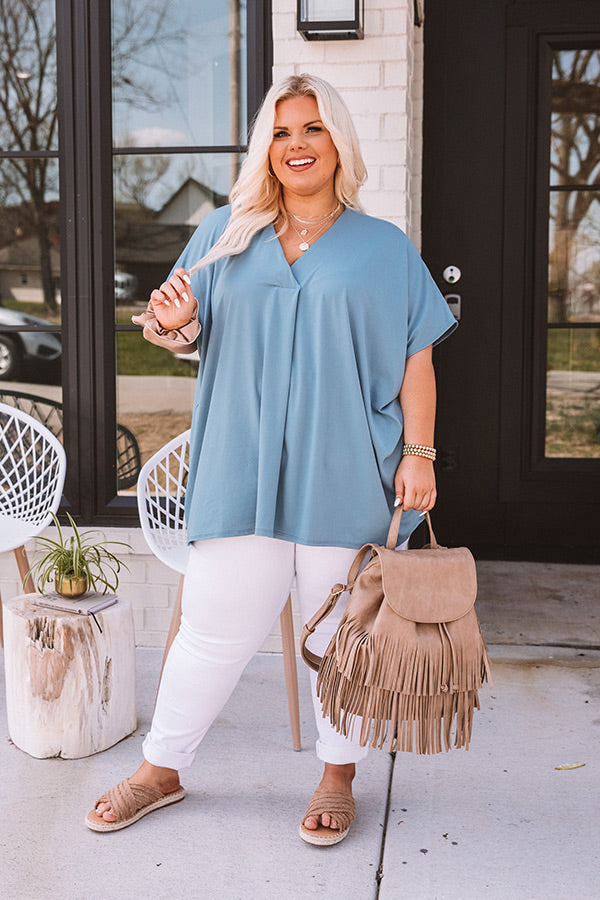 Sunday Stroll Shift Top In Airy Blue