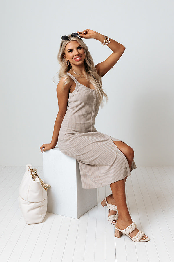 Patio Gathering Midi Dress In Taupe