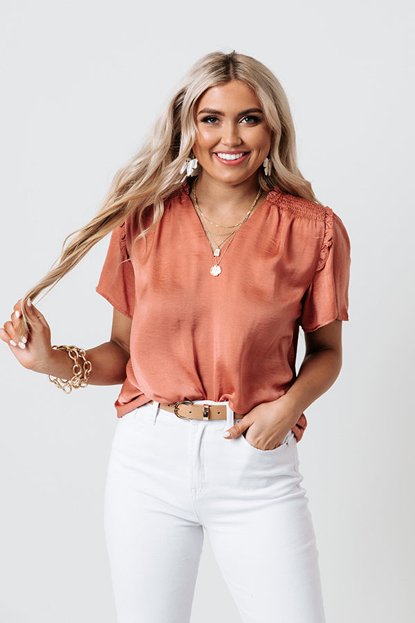 Mood And Music Shift Top In Dark Coral