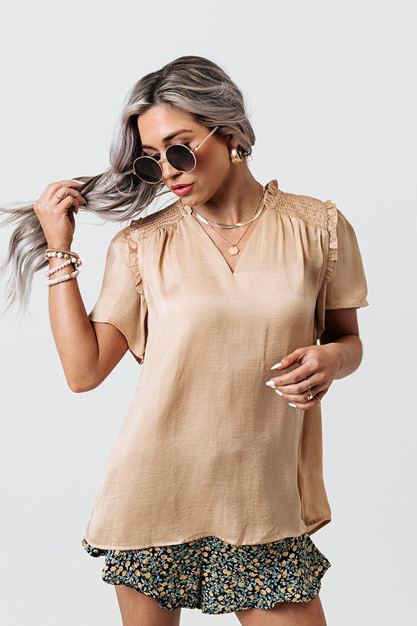 Mood And Music Shift Top In Beige