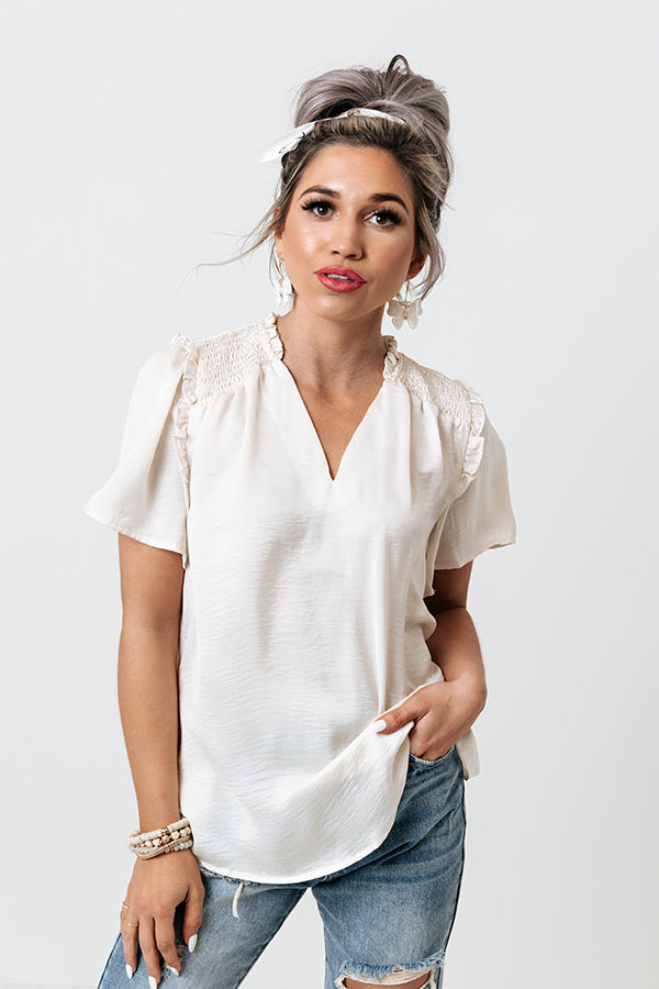 Mood And Music Shift Top In Cream