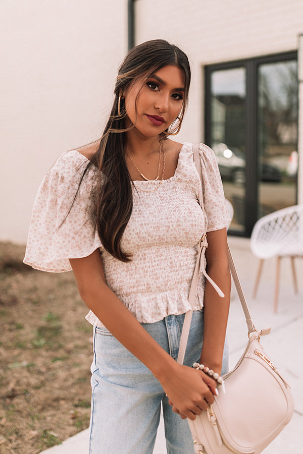 Starlet Style Smocked Top In Latte
