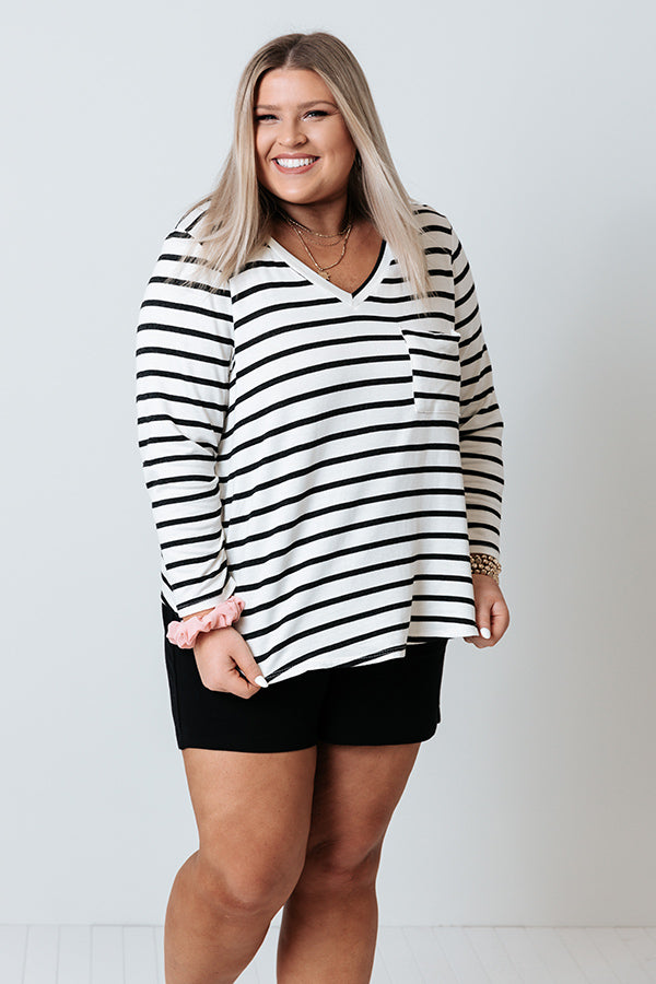 Salty Air Stripe Shift Top in White
