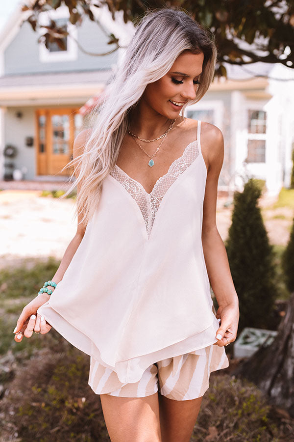 Forgotten Promises Lace Tank In Iced Latte