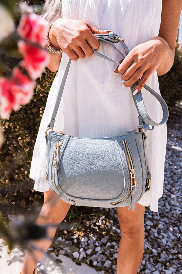 Adventure In The Air Faux Leather Crossbody In Airy Blue