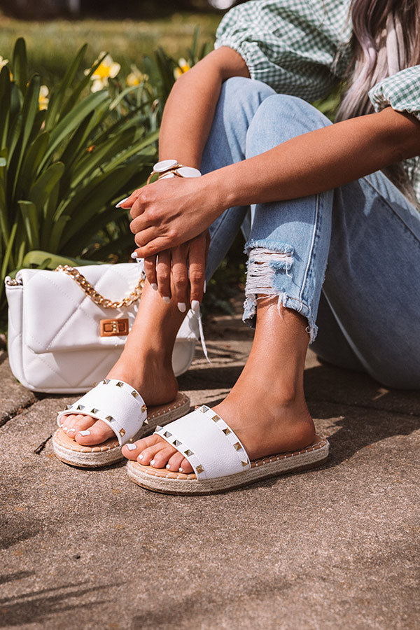 The Dollie Faux Leather Sandal In White