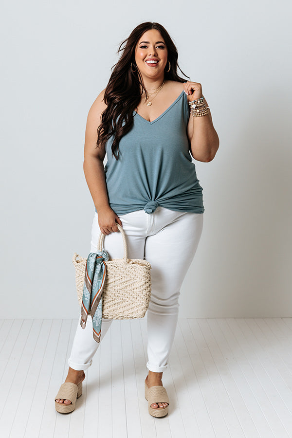Kisses On The Coast Shift Tank In Light Teal