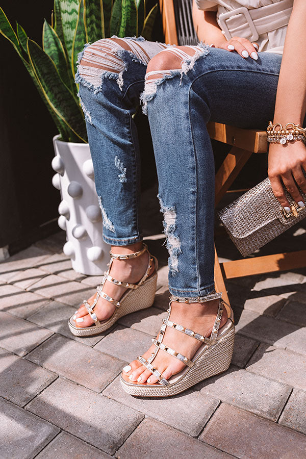 The Sunny Studded Wedge In Gold