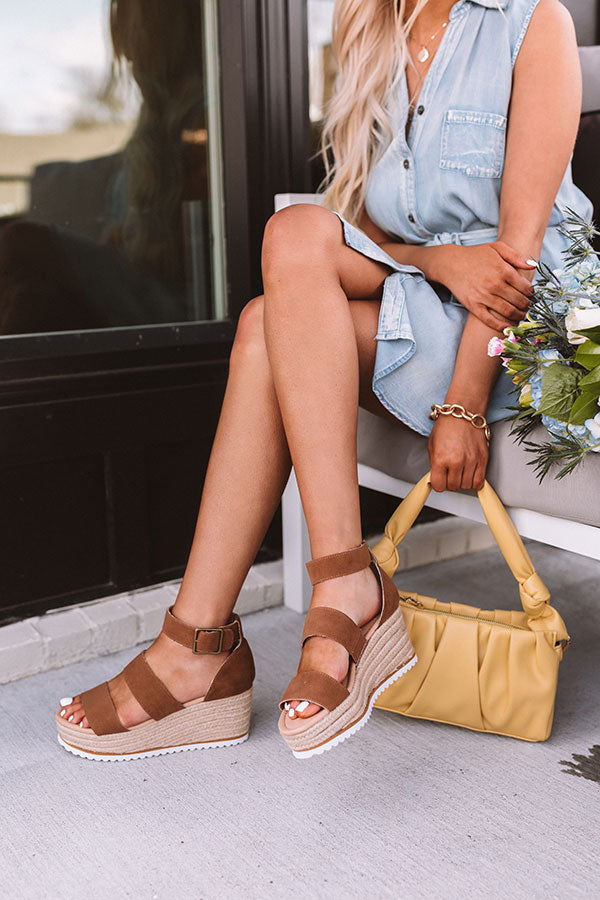 The Annika Espadrille Wedge In Brown