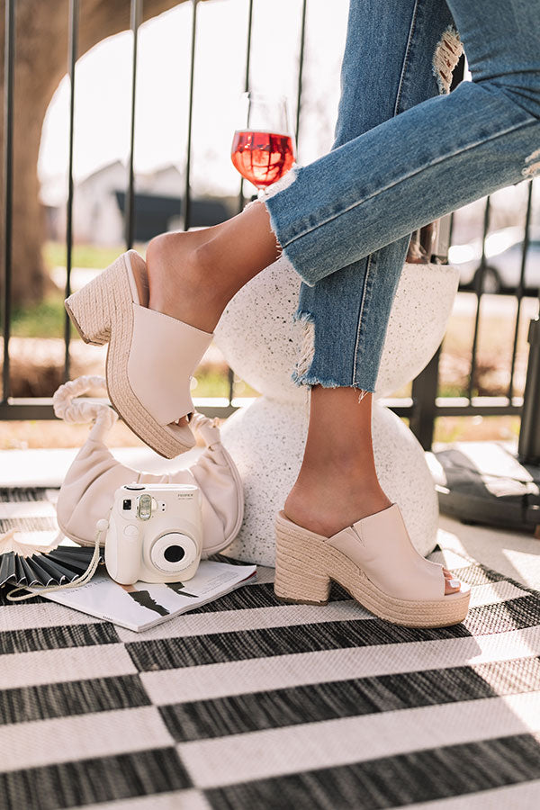 The Abney Faux Leather Heel In Stone