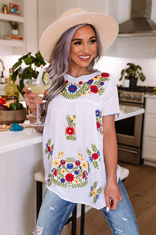 Cozy Cabana Embroidered Top In White