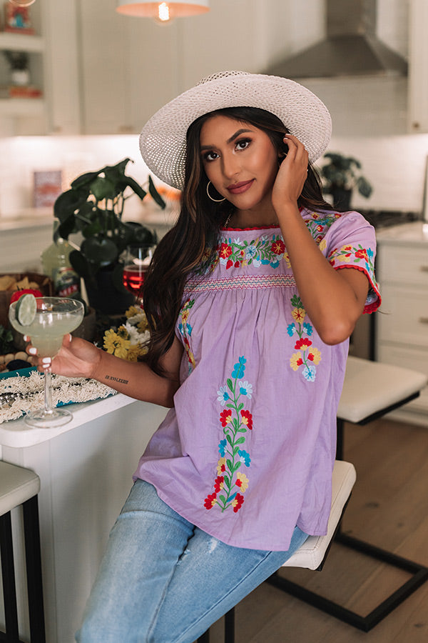 Maldives Morning Embroidered Top In Lavender