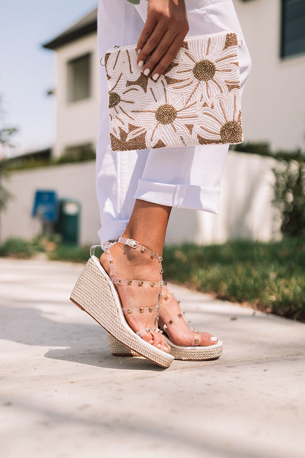 The Sunny Studded Wedge In Clear