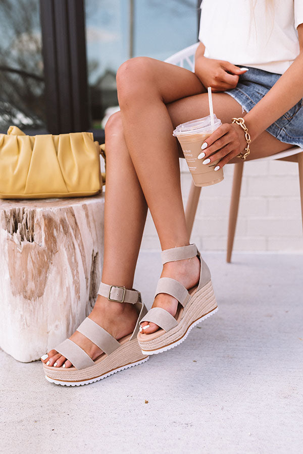 The Annika Espadrille Wedge In Taupe